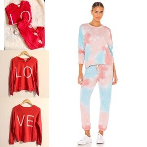 Sundry Set // Red Love Hearts Top & Jogger Bundle
